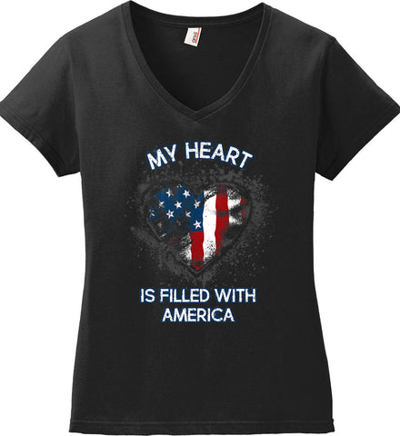 My Heart Is Filled With America. Women's: Anvil Ladies' V-Neck T-Shirt.