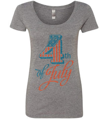 4th of July. Faded Grunge. Women's: Next Level Ladies' Triblend Scoop.