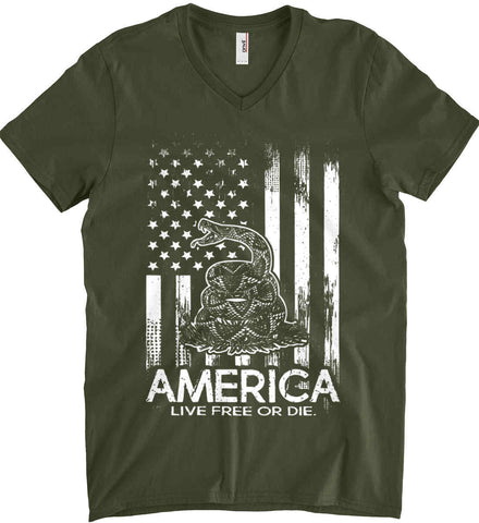 America. Live Free or Die. Don't Tread on Me. White Print. Anvil Men's Printed V-Neck T-Shirt.