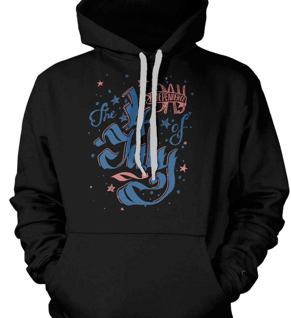 The 4th of July. Ribbon Script. Gildan Heavyweight Pullover Fleece Sweatshirt.-3