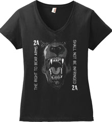 The Right to Bear Arms. Shall Not Be Infringed. Women's: Anvil Ladies' V-Neck T-Shirt.