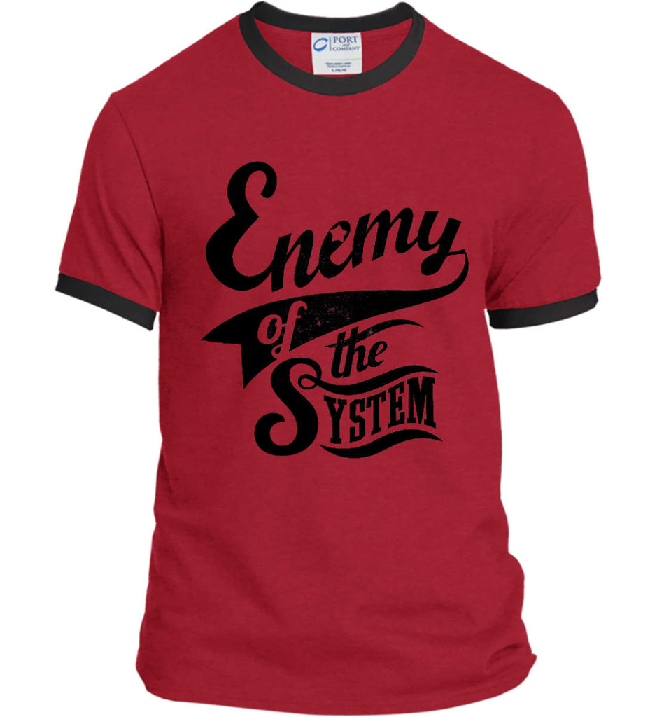 Enemy of The System. Port and Company Ringer Tee.-8