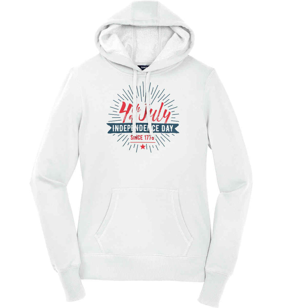 4th of July. Independence Day Since 1776. Women's: Sport-Tek Ladies Pullover Hooded Sweatshirt.-1