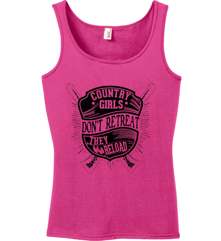 Country Girls Don't Retreat. They Reload. Women's Second Amendment. Black Print. Women's: Anvil Ladies' 100% Ringspun Cotton Tank Top.