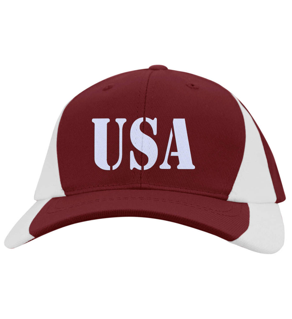 USA Patriot Hat Sport-Tek Mid-Profile Colorblock Cap. (Embroidered)-3