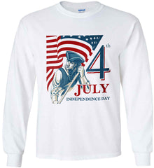 Patriot Flag. July 4th. Independence Day. Gildan Ultra Cotton Long Sleeve Shirt.