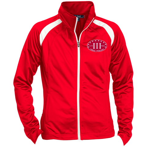 Three Percent. Live Free. Red with White Text. Women's: Sport-Tek Ladies' Raglan Sleeve Warmup Jacket. (Embroidered)
