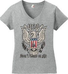 Don't Tread on Me. Eagle with Shield and Rattlesnake. Women's: Anvil Ladies' V-Neck T-Shirt.