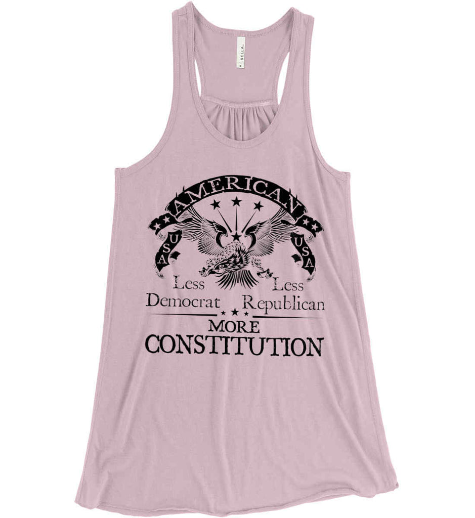 America: Less Democrat - Less Republican. More Constitution. Black Print Women's: Bella + Canvas Flowy Racerback Tank.-5