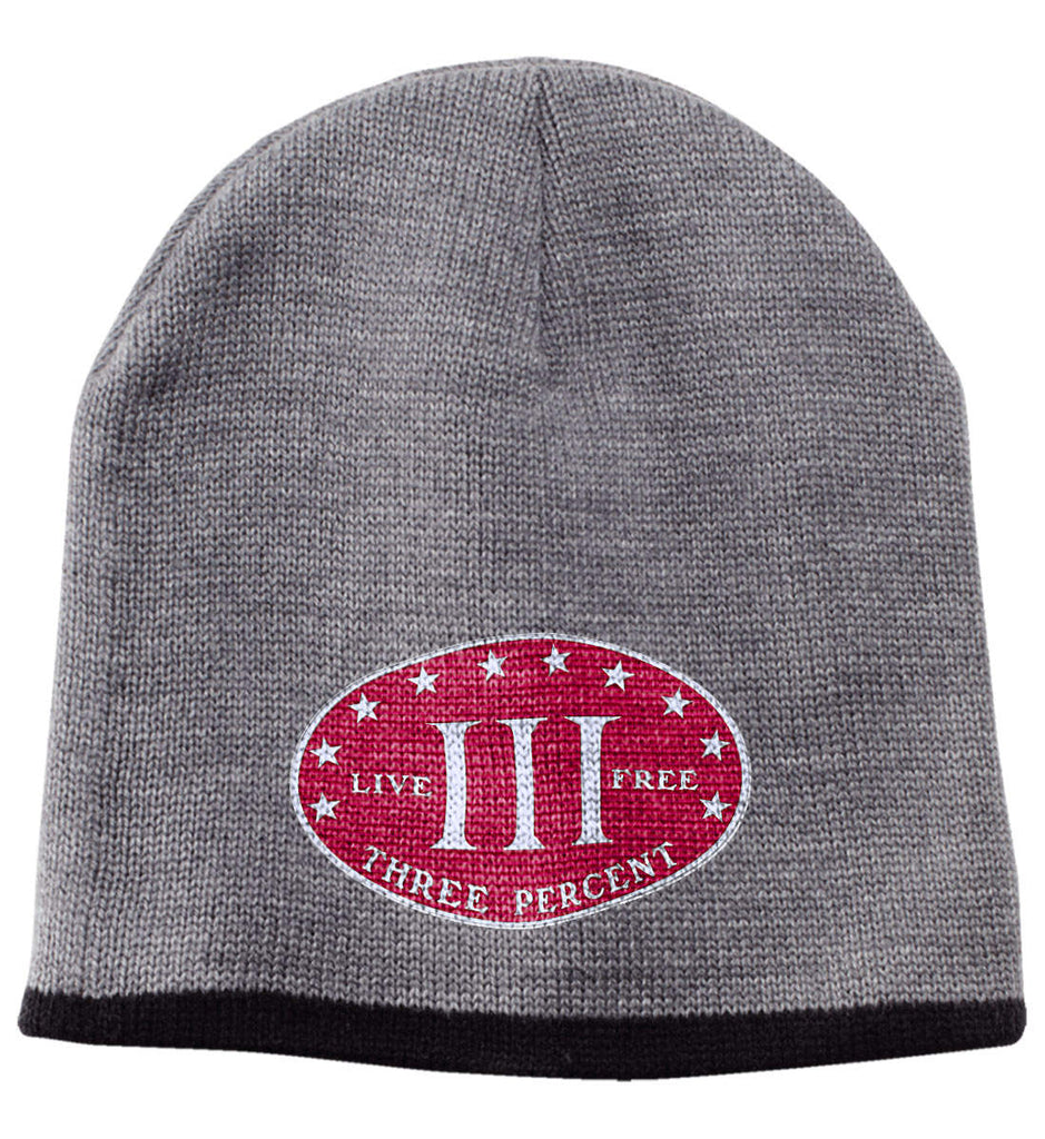 Three Percenter. Live Free. Hat. 100% Acrylic Beanie. (Embroidered)-6