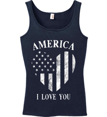 America I Love You White Print. Women's: Anvil Ladies' 100% Ringspun Cotton Tank Top.