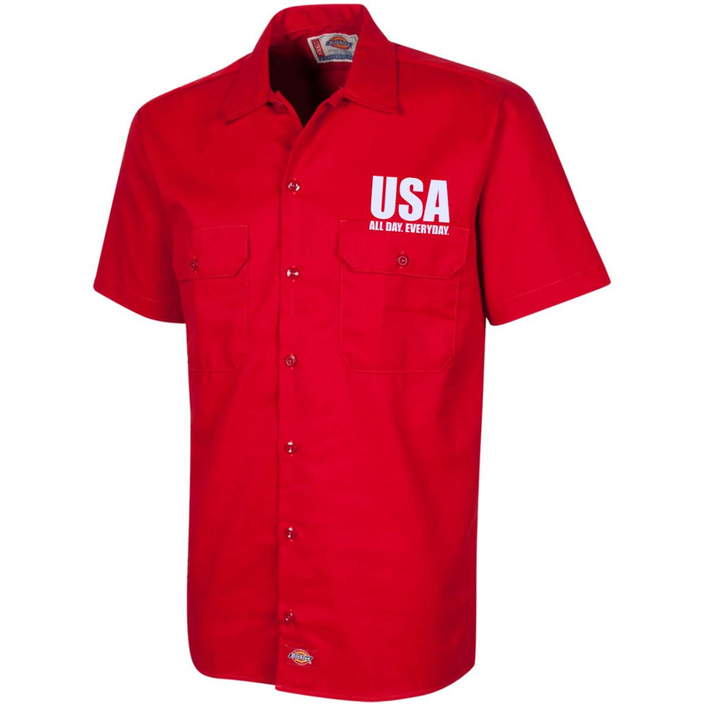 USA. All Day. Everyday. White Text. Dickies Men's Short Sleeve Workshirt. (Embroidered)-3