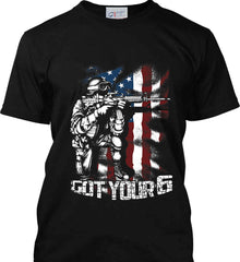 Got Your Six. Soldier Flag. Port & Co. Made in the USA T-Shirt.