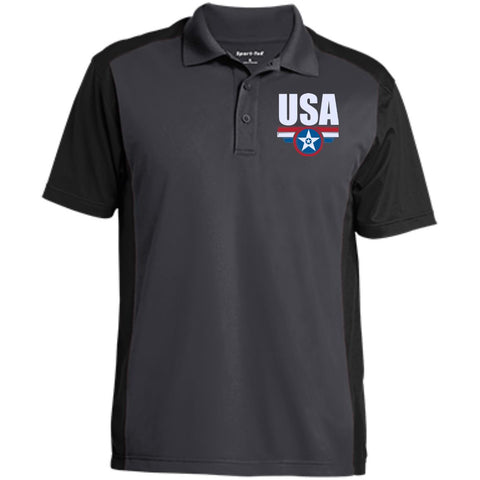 USA. Star-Shield. Red, White, Blue. Sport-Tek Men's Colorblock Sport-Wick Polo. (Embroidered)