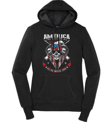 Did you America Today. 1776. Live Free or Die. Skull. Women's: Sport-Tek Ladies Pullover Hooded Sweatshirt.