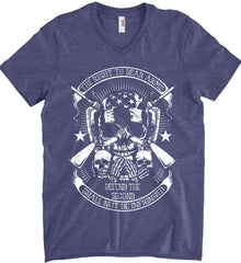 The Right to Bear Arms. Shall Not Be Infringed. Since 1791. White Print. Anvil Men's Printed V-Neck T-Shirt.