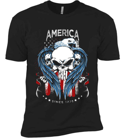 America. Punisher Skull and Bones. Since 1776. Next Level Premium Short Sleeve T-Shirt.