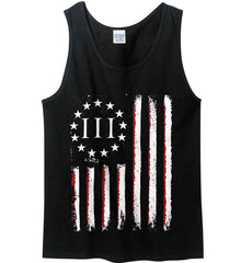 Three Percent on American Flag. Gildan 100% Cotton Tank Top.