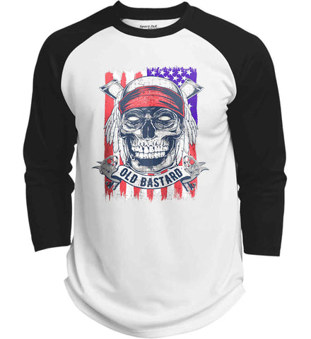 US Veteran. Skull on Flag. Sport-Tek Polyester Game Baseball Jersey.