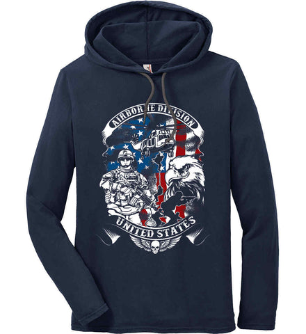 Airborne Division. United States. Anvil Long Sleeve T-Shirt Hoodie.
