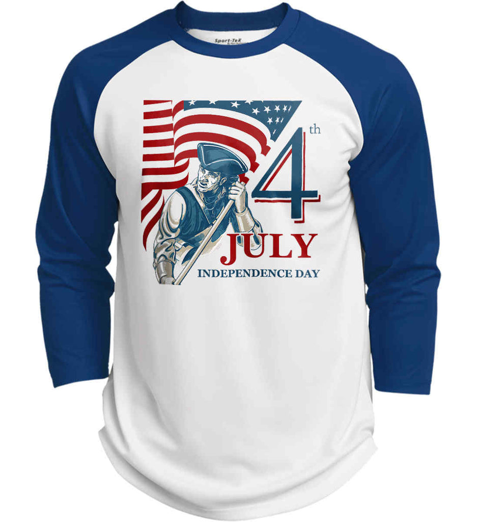 Patriot Flag. July 4th. Independence Day. Sport-Tek Polyester Game Baseball Jersey.-5