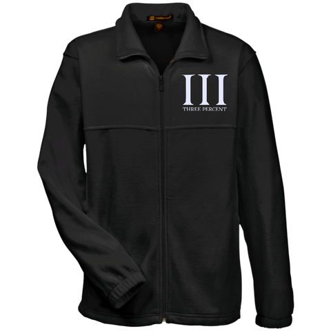 Three Percent Symbol with Text. White. Harriton Fleece Full-Zip. (Embroidered)