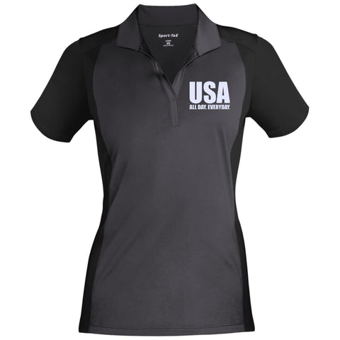 USA. All Day. Everyday. White Text. Women's: Sport-Tek Ladies' Colorblock Sport-Wick Polo. (Embroidered)