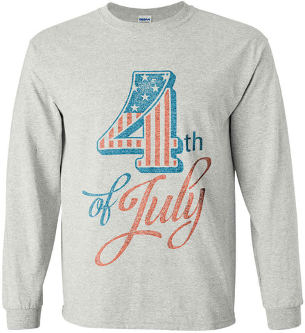 4th of July. Faded Grunge. Gildan Ultra Cotton Long Sleeve Shirt.