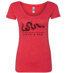 Join or Die. Black Print. Women's: Next Level Ladies' Triblend Scoop.