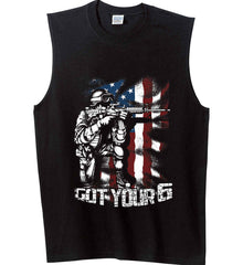 Got Your Six. Soldier Flag. Gildan Men's Ultra Cotton Sleeveless T-Shirt.