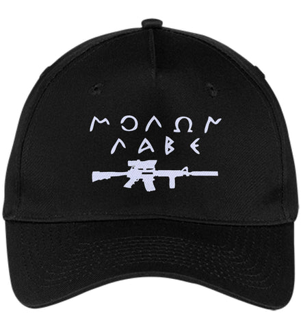 Molon Labe Rifle Hat. Port & Co. Five Panel Twill Cap. (Embroidered)