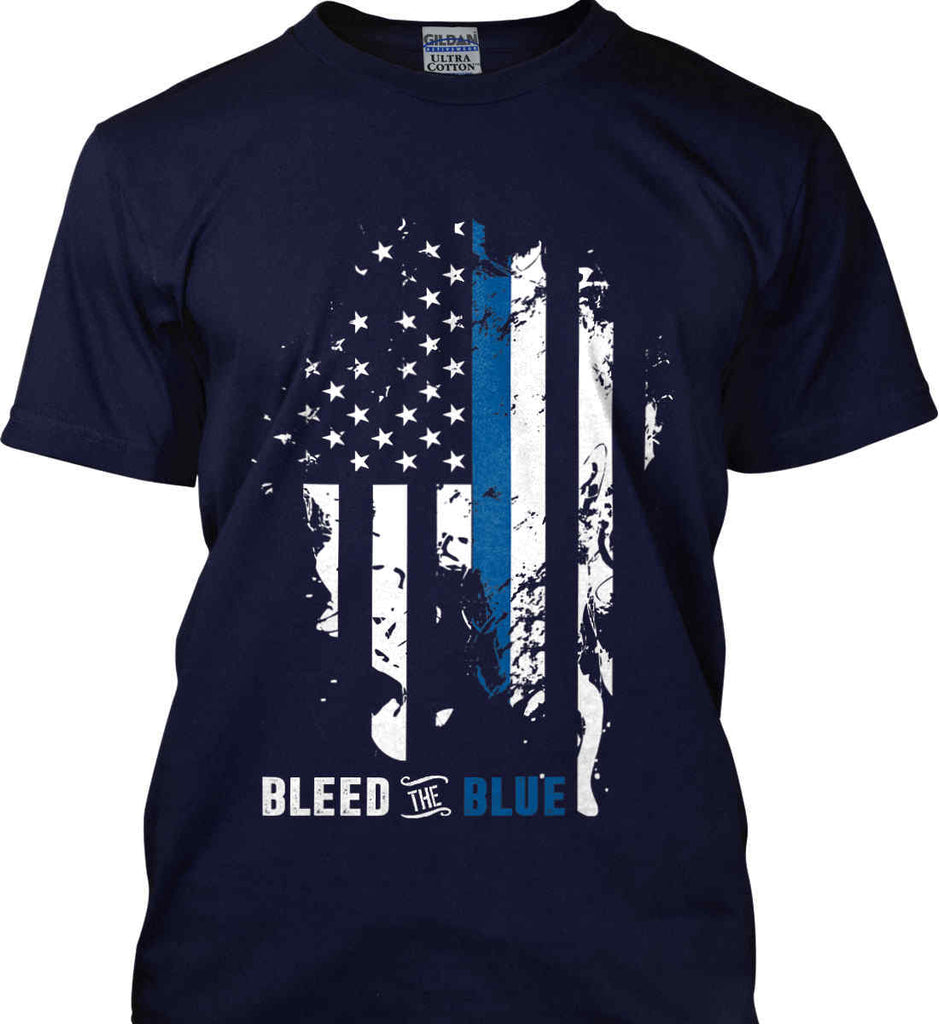 Bleed the Blue. Grungy Blue Line Flag. Gildan Ultra Cotton T-Shirt.-3