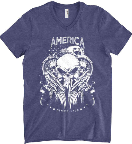 America. Punisher Skull and Bones. Since 1776. White Print. Anvil Men's Printed V-Neck T-Shirt.