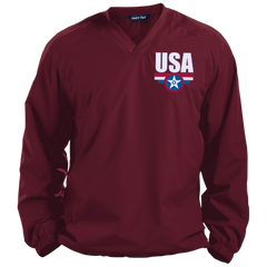 USA. Star-Shield. Red, White, Blue. Sport-Tek Pullover V-Neck Windshirt. (Embroidered)