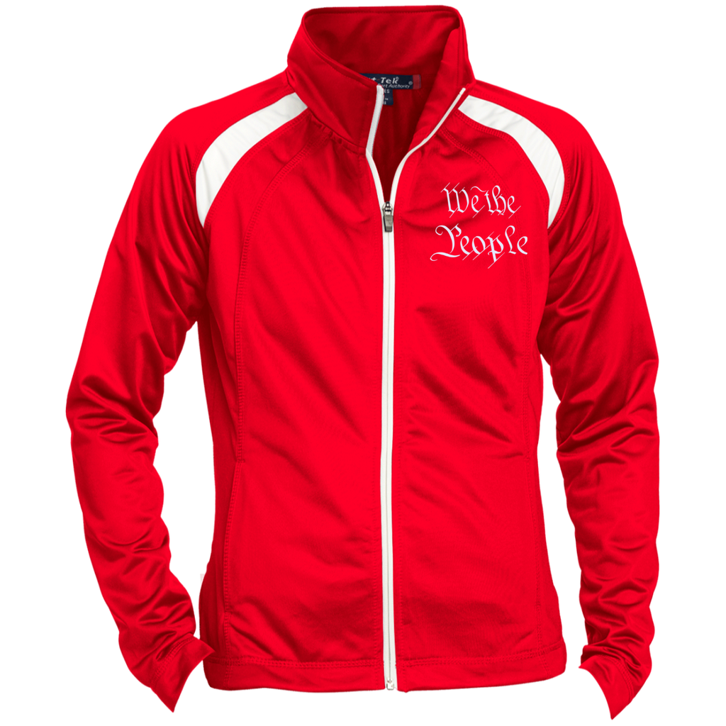 We the People. White Text. Women's: Sport-Tek Ladies' Raglan Sleeve Warmup Jacket. (Embroidered)-1