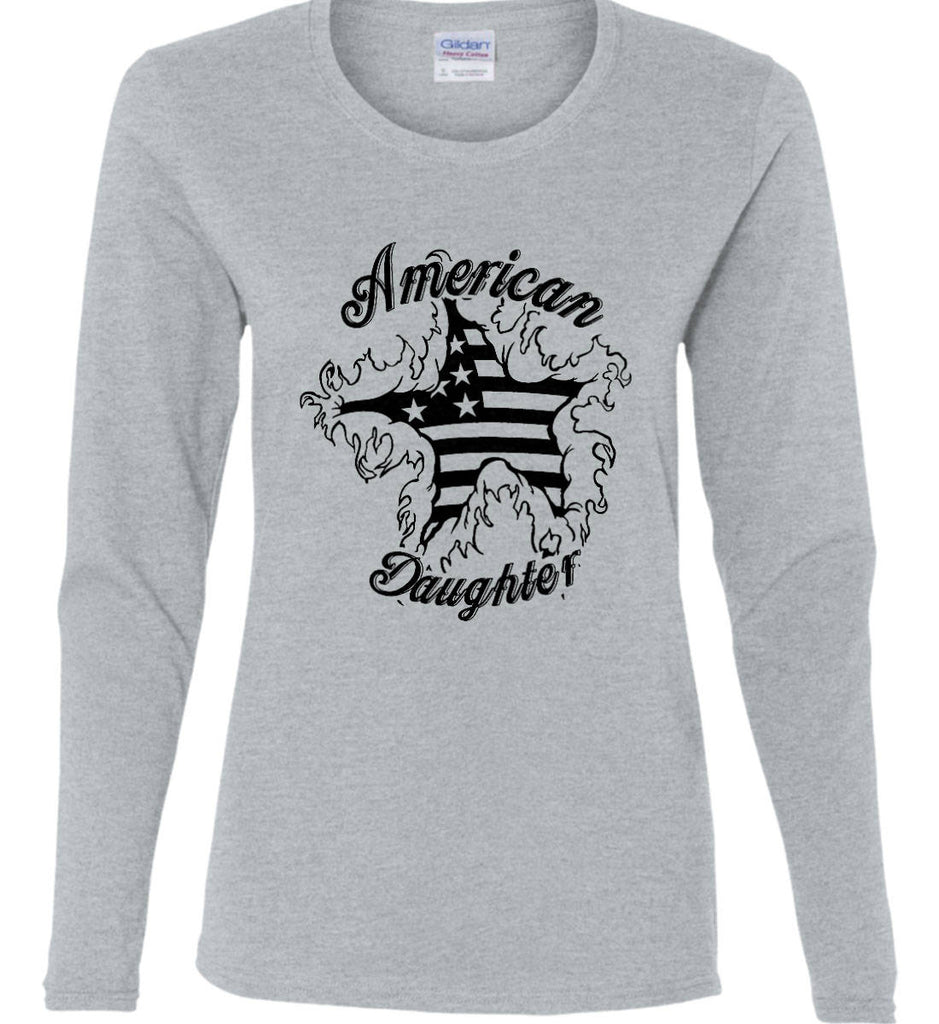American Daughter. Women's Patriot Design. Women's: Gildan Ladies Cotton Long Sleeve Shirt.-5