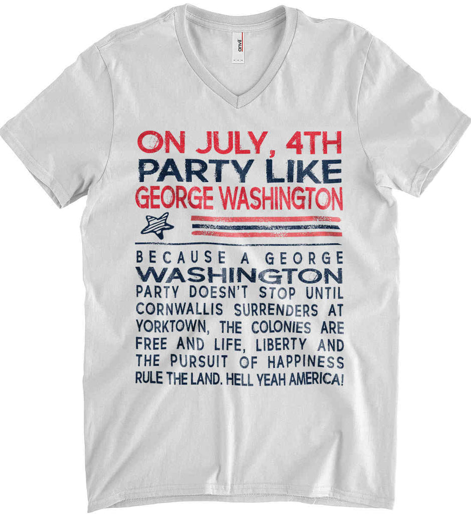 On July, 4th Party Like George Washington. Anvil Men's Printed V-Neck T-Shirt.-2