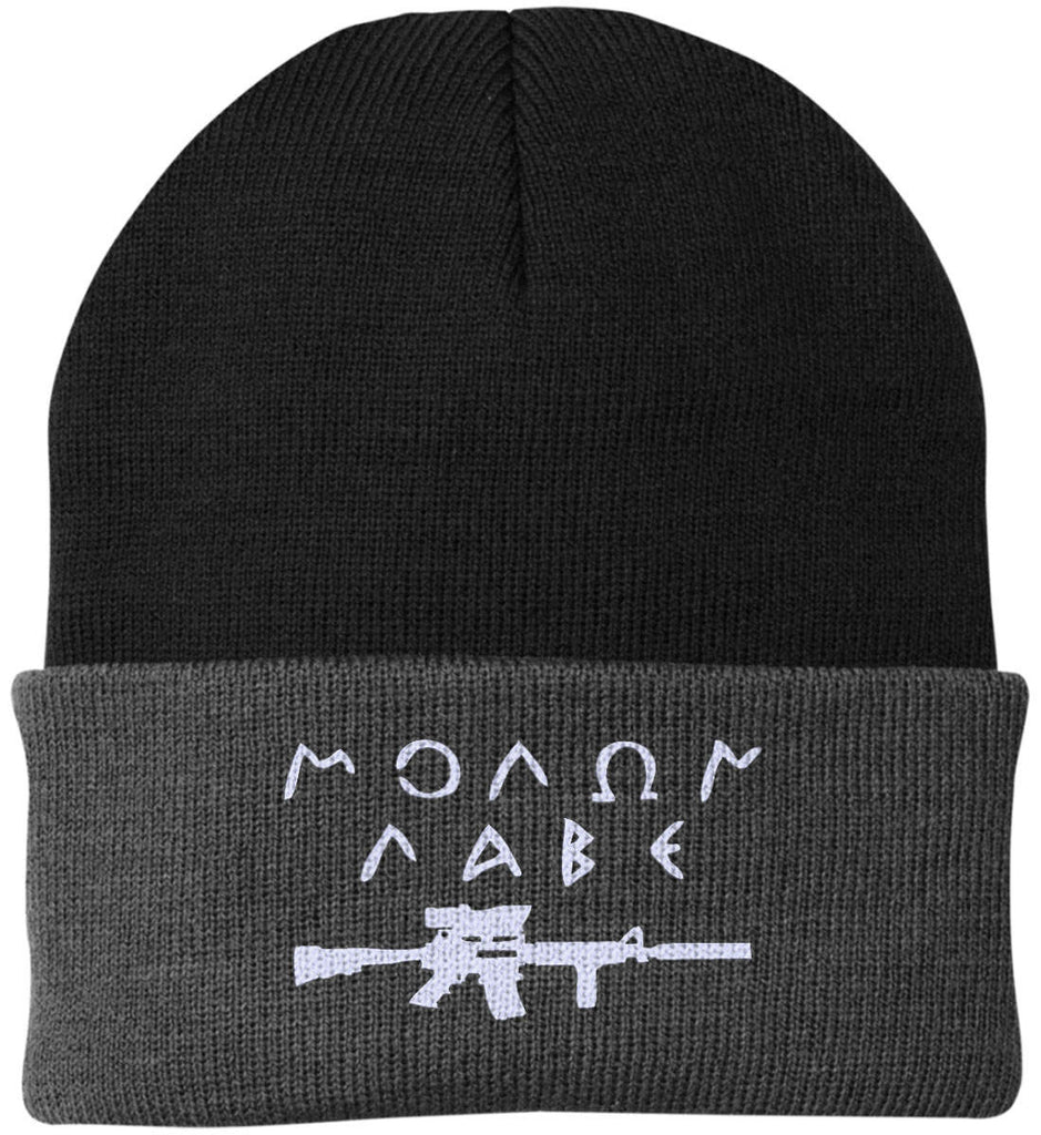 Molon Labe Rifle Hat. Port Authority Knit Cap. (Embroidered)-13