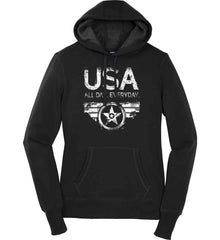 USA All Day Everyday. White Print. Women's: Sport-Tek Ladies Pullover Hooded Sweatshirt.
