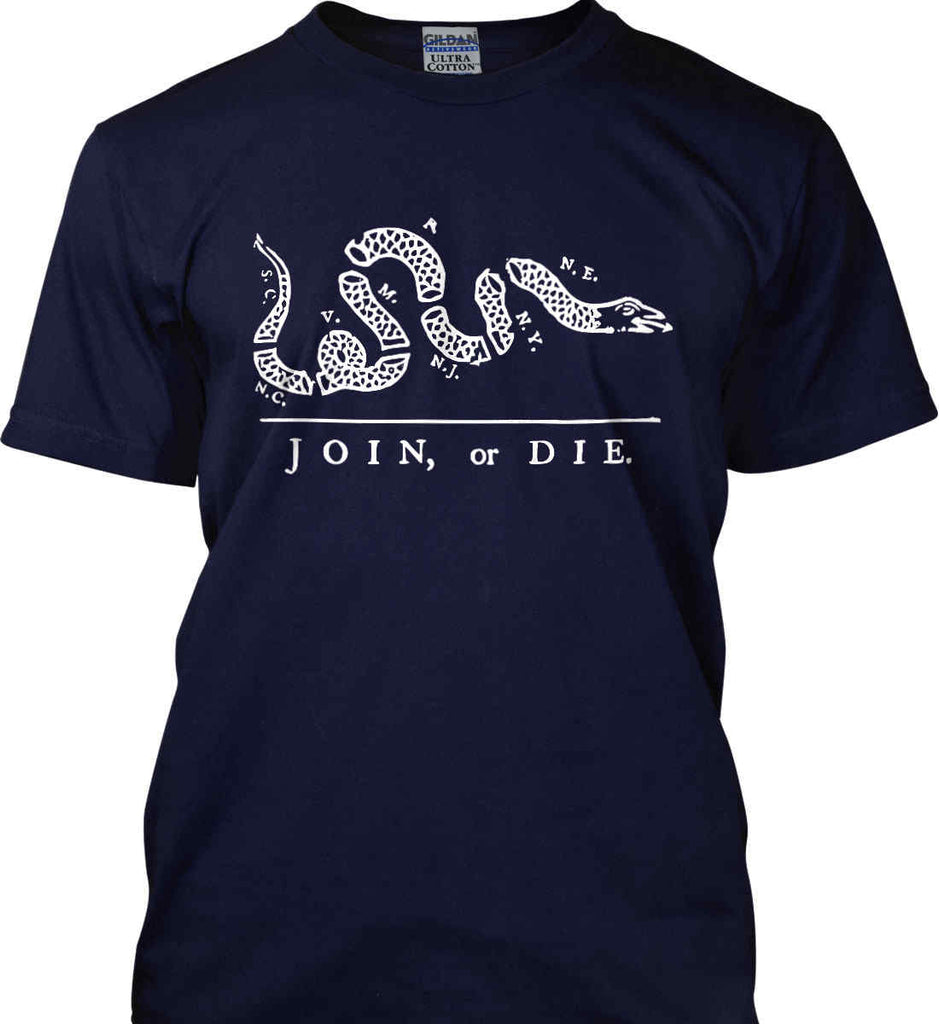 Join or Die. White Print. Gildan Tall Ultra Cotton T-Shirt.-4