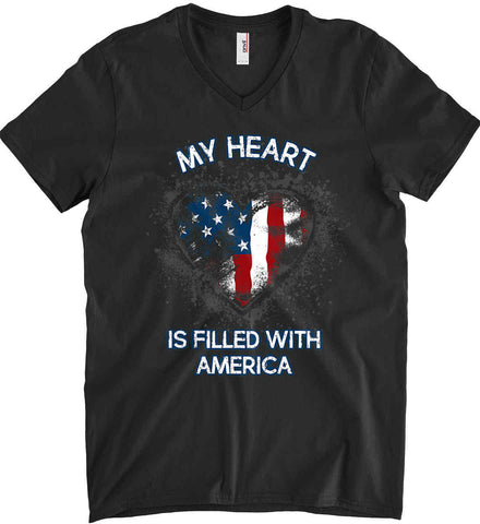 My Heart Is Filled With America. Anvil Men's Printed V-Neck T-Shirt.