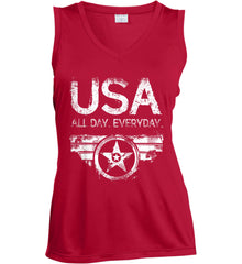 USA All Day Everyday. White Print. Women's: Sport-Tek Ladies' Sleeveless Moisture Absorbing V-Neck.