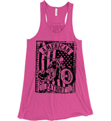 American Patriot - Flag/Rider. Black Print. Women's: Bella + Canvas Flowy Racerback Tank.