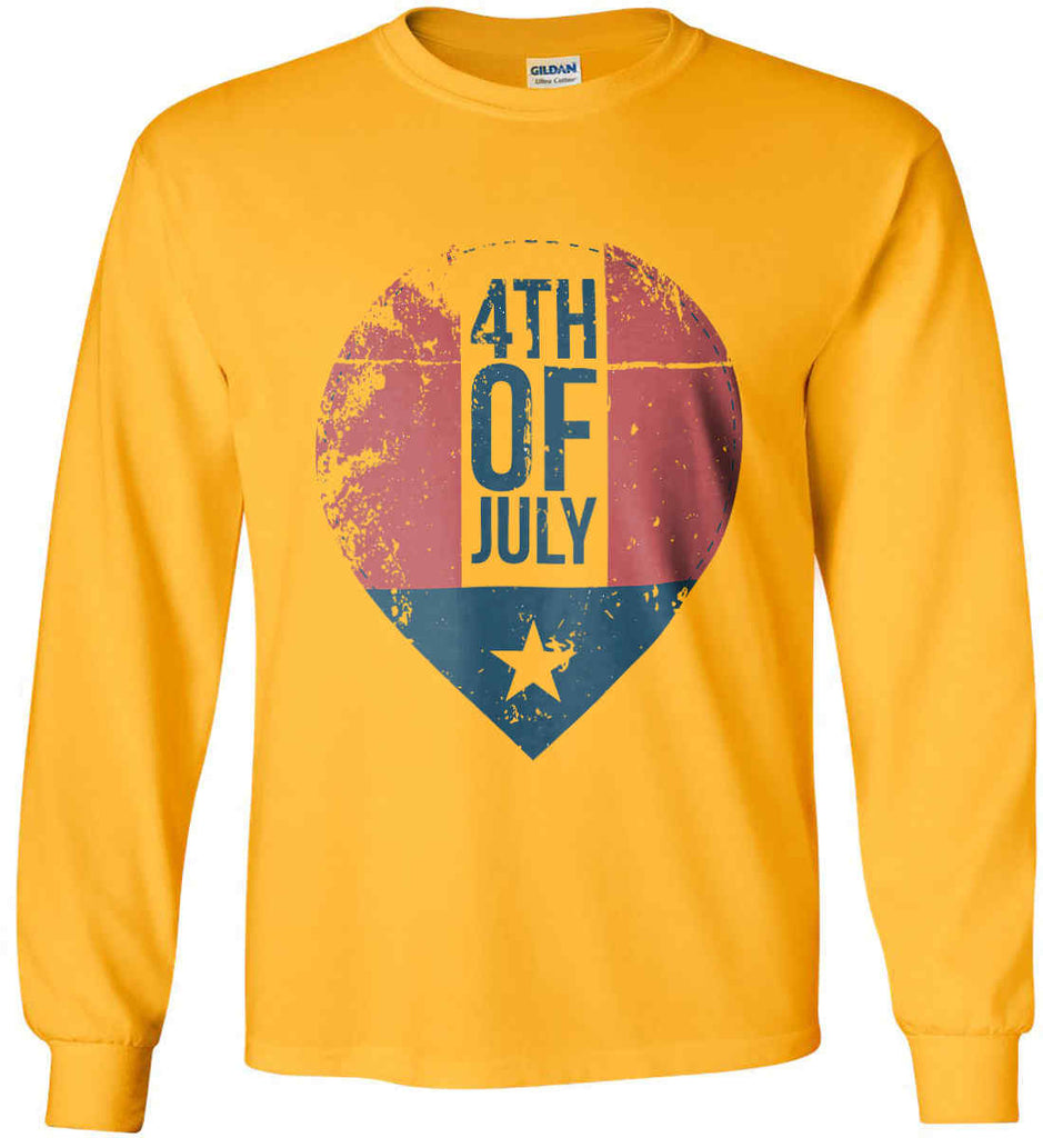 4th of July with Star. Gildan Ultra Cotton Long Sleeve Shirt.-4