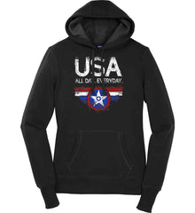USA All Day Everyday. Women's: Sport-Tek Ladies Pullover Hooded Sweatshirt.