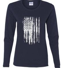 Grungy Grey USA Flag Women's: Gildan Ladies Cotton Long Sleeve Shirt.
