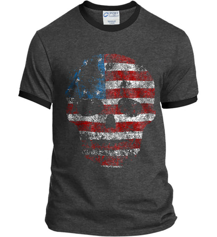 American Skull. Red, White and Blue. Port and Company Ringer Tee.