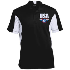 USA. Star-Shield. Red, White, Blue. Sport-Tek Men's Colorblock Performance Polo. (Embroidered)