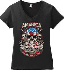 America. 2nd Amendment Patriots. Women's: Anvil Ladies' V-Neck T-Shirt.