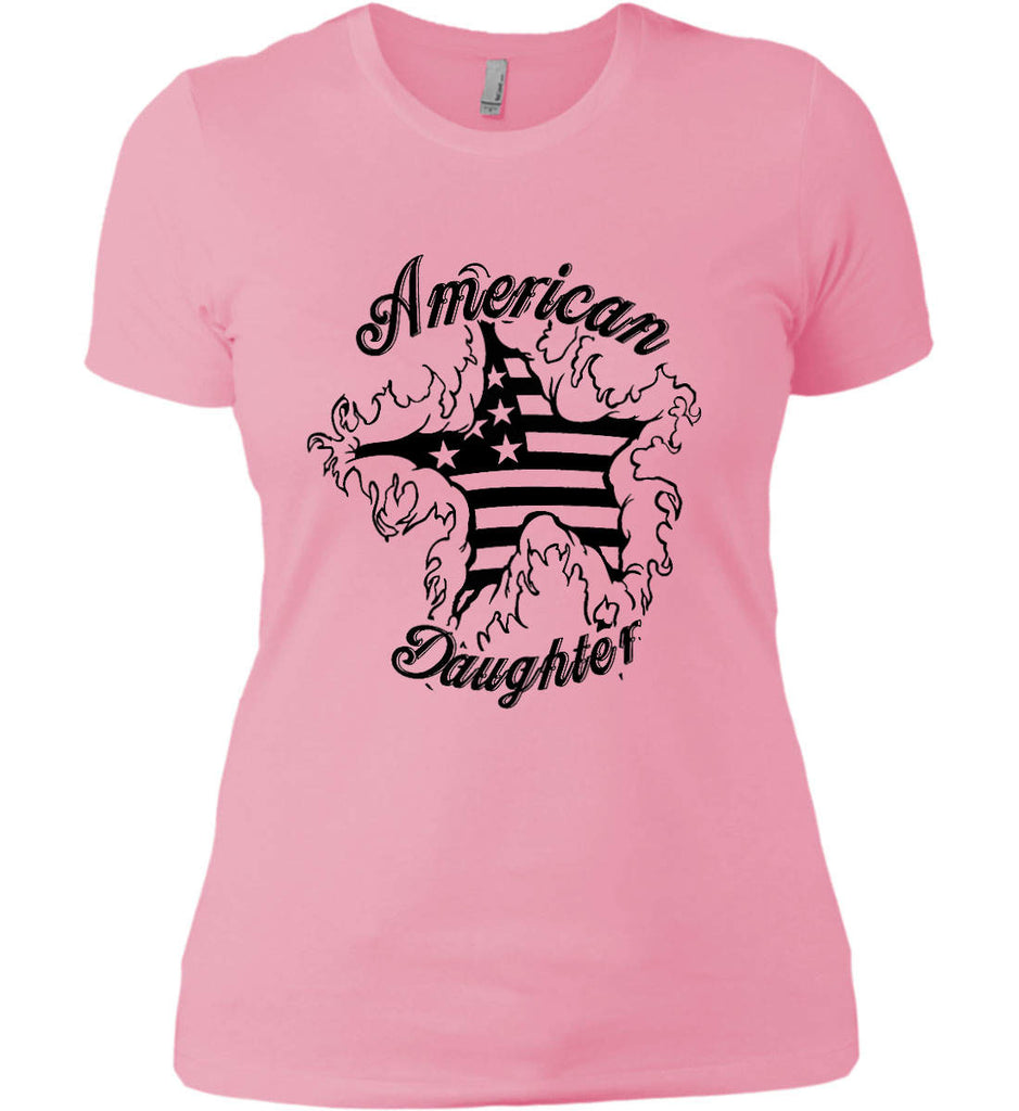 American Daughter. Women's Patriot Design. Women's: Next Level Ladies' Boyfriend (Girly) T-Shirt.-3
